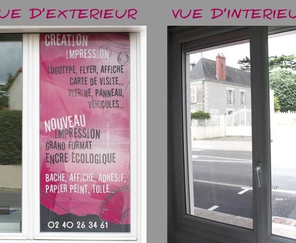 Adhésif vitrine microperforé Magasin Nantes 44680 Ste Pazanne
