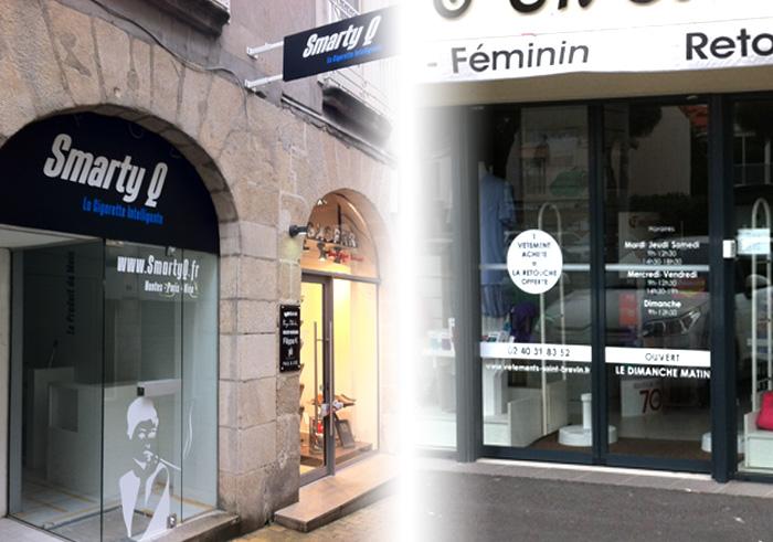 Lettrage adhésif de vitrine à St Brévin Les Pins, près de Pornic