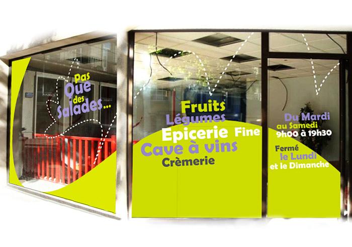 Adhésif vitrine magasin Nantes : découpe sticker pour commerce