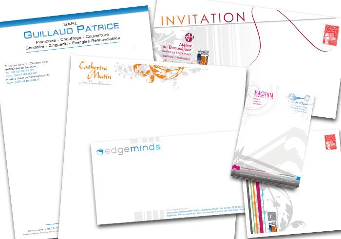 Entête correspondance - bloc notes, enveloppe Nantes - Communication papier 44