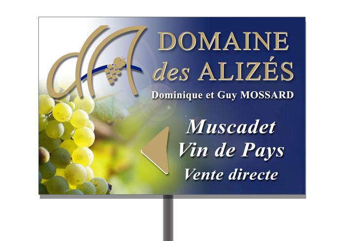 Panneau pré-enseigne Nantes région - 44680 : Panneau viticulteur Pays de Retz